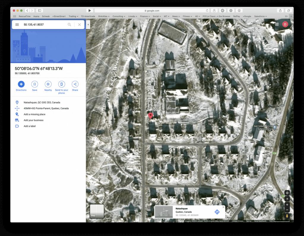 Google Maps Locating Aréna Brad-Shimun